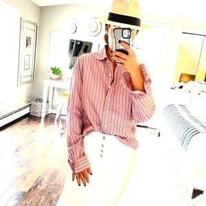 Faconnable pinstripe button down shirt medium